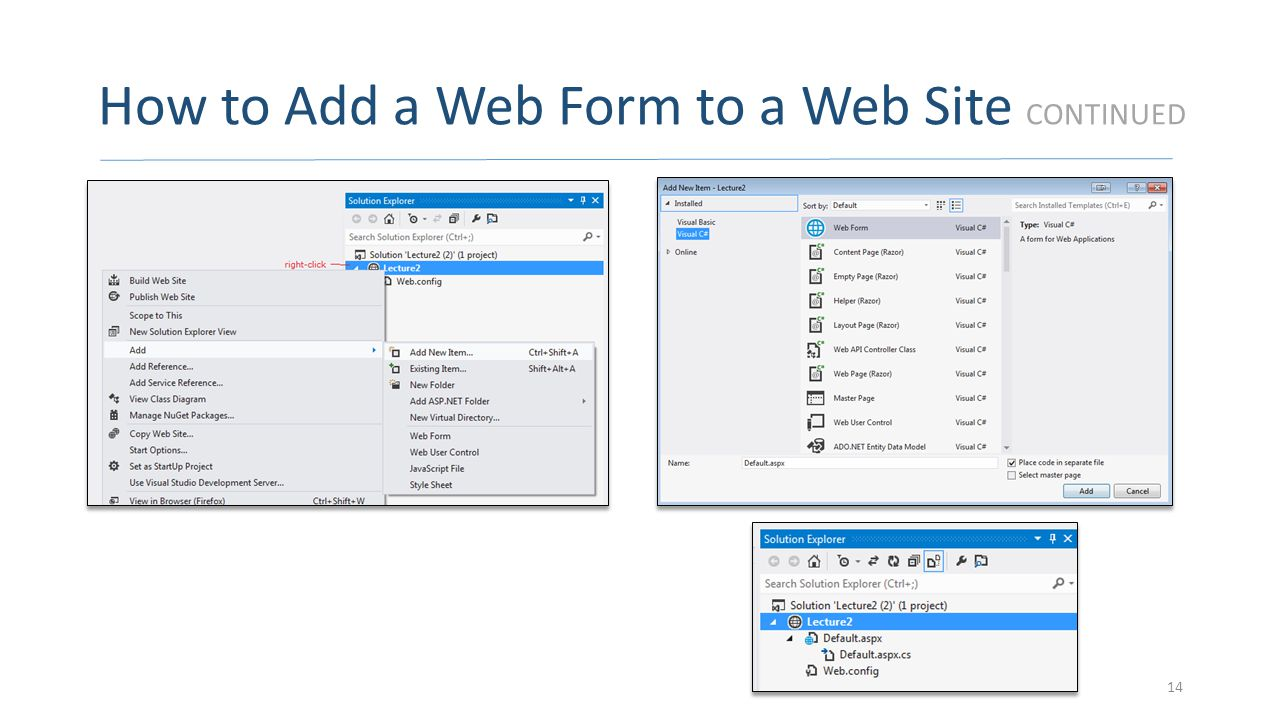 How to Add a Web Form to a Web Site CONTINUED 14