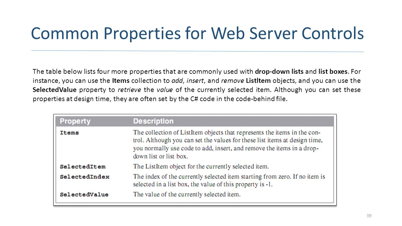 Common Properties for Web Server Controls 39 The table below lists four more properties that are commonly used with drop-down lists and list boxes. Fo