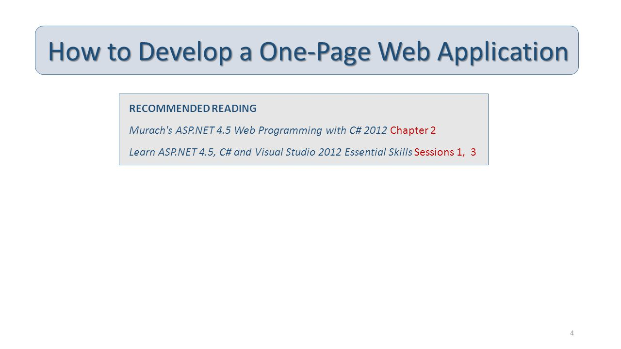 How to Develop a One-Page Web Application RECOMMENDED READING Murach's ASP.NET 4.5 Web Programming with C# 2012 Chapter 2 Learn ASP.NET 4.5, C# and Vi
