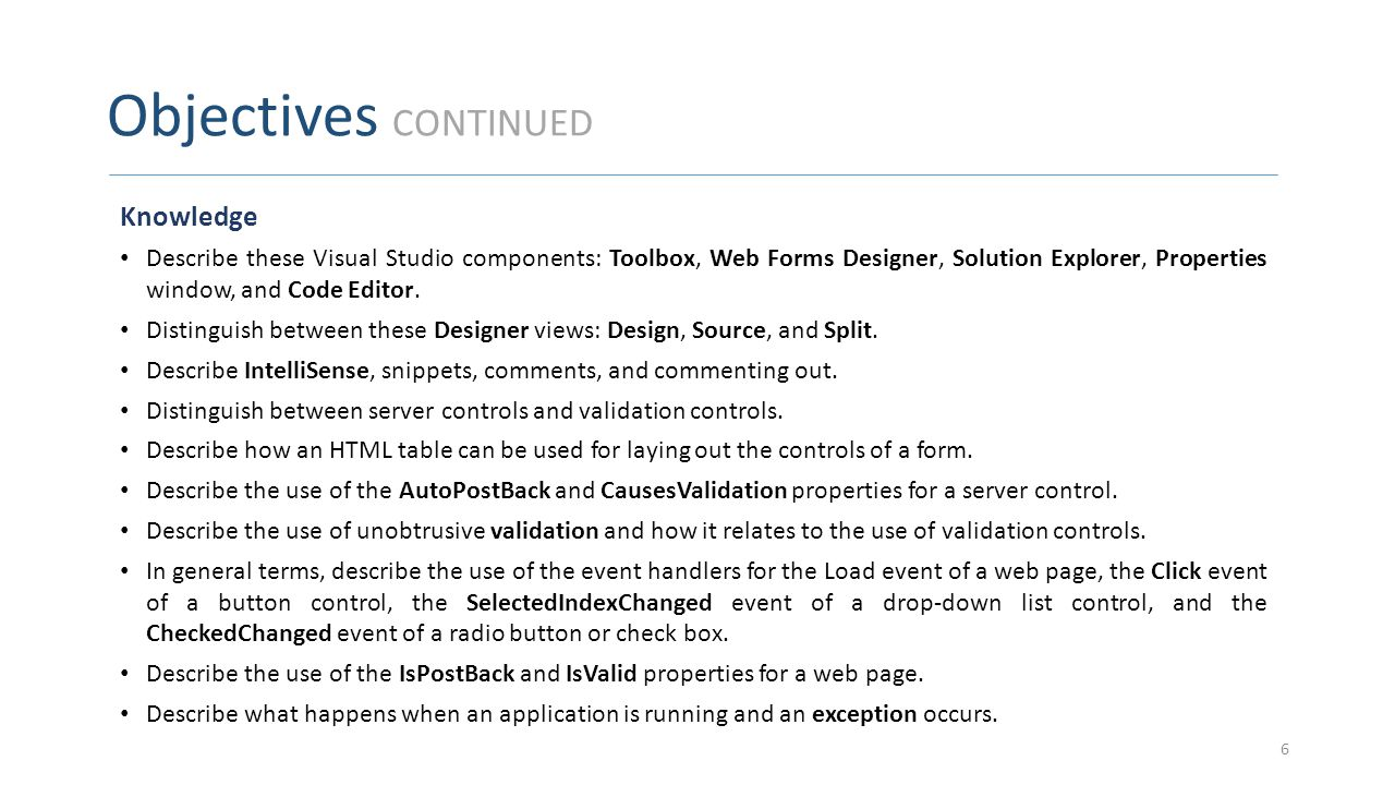 Objectives CONTINUED Knowledge Describe these Visual Studio components: Toolbox, Web Forms Designer, Solution Explorer, Properties window, and Code Ed