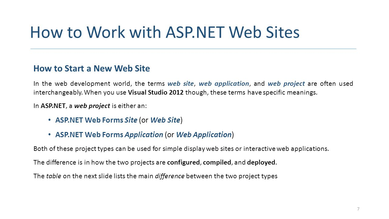 How to Work with ASP.NET Web Sites CONTINUED 8