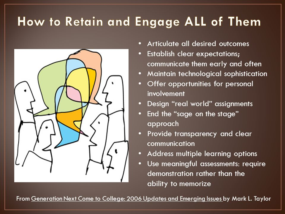 Articulate all desired outcomes Establish clear expectations; communicate them early and often Maintain technological sophistication Offer opportunities for personal involvement Design real world assignments End the sage on the stage approach Provide transparency and clear communication Address multiple learning options Use meaningful assessments: require demonstration rather than the ability to memorize From Generation Next Come to College: 2006 Updates and Emerging Issues by Mark L.