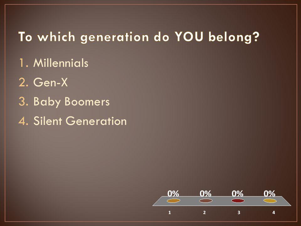 1.Millennials 2.Gen-X 3.Baby Boomers 4.Silent Generation