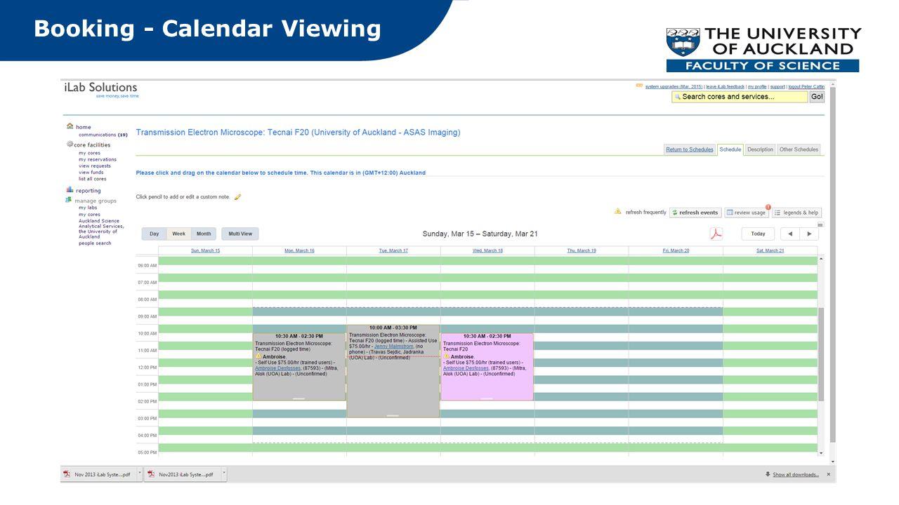Booking - Calendar Viewing