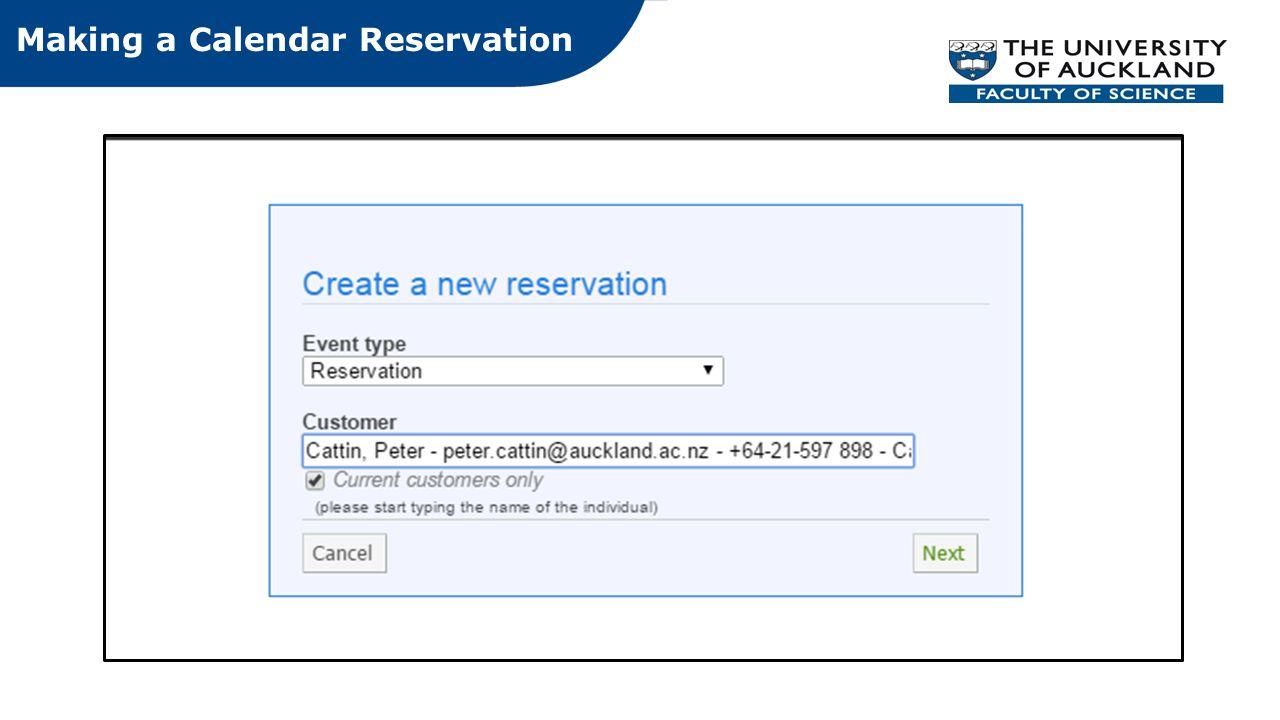 Making a Calendar Reservation