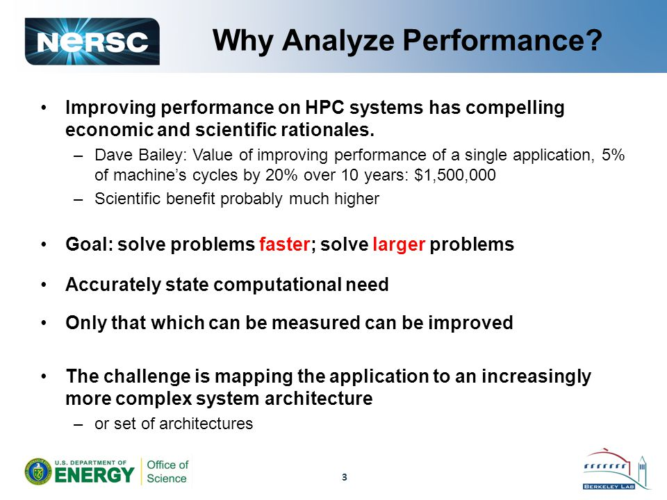 Performance Analysis Issues Difficult process for real codes Many ways of measuring, reporting Very broad space: Not just time on one size –for fixed size problem (same memory per processor): Strong Scaling –scaled up problem (fixed execution time): Weak Scaling A variety of pitfalls abound –Must compare parallel performance to best uniprocessor algorithm, not just parallel program on 1 processor (unless it's best) –Be careful relying on any single number Amdahl's Law 4