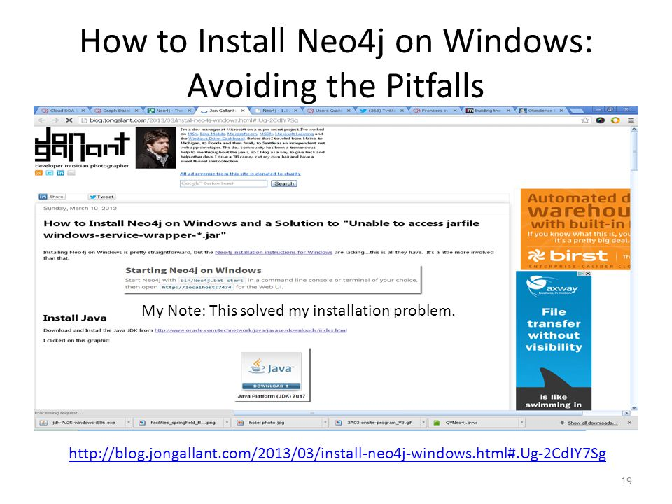 How to Install Neo4j on Windows: Avoiding the Pitfalls 19 http://blog.jongallant.com/2013/03/install-neo4j-windows.html#.Ug-2CdIY7Sg My Note: This solved my installation problem.