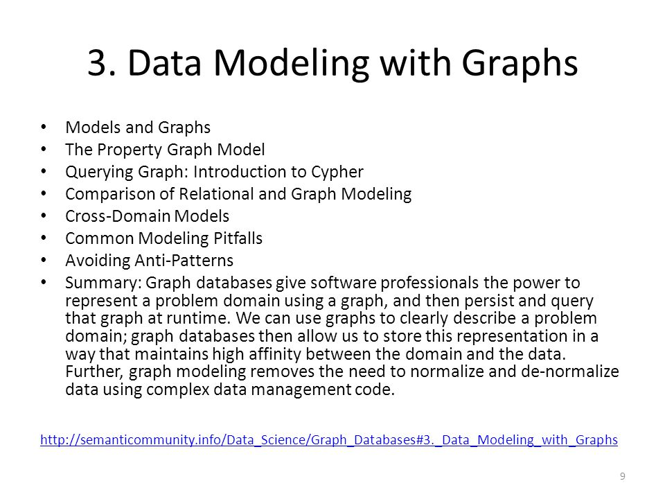 3. Data Modeling with Graphs Models and Graphs The Property Graph Model Querying Graph: Introduction to Cypher Comparison of Relational and Graph Mode