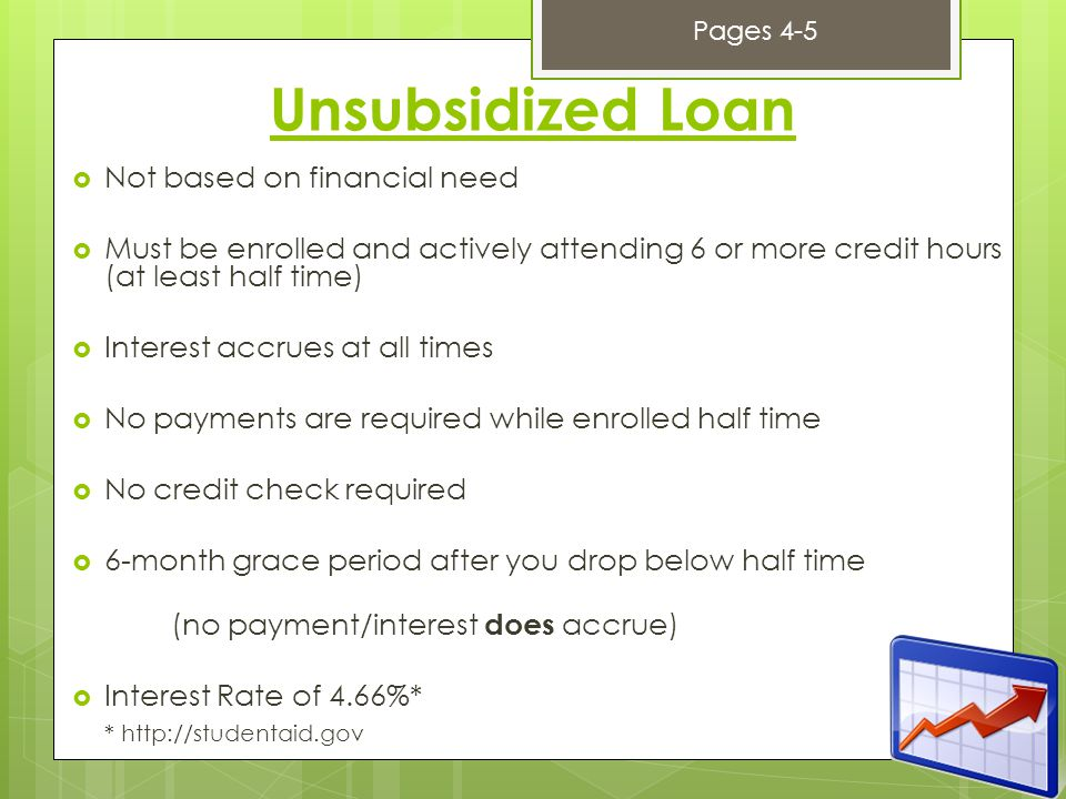 Unsubsidized Loan  Not based on financial need  Must be enrolled and actively attending 6 or more credit hours (at least half time)  Interest accrues at all times  No payments are required while enrolled half time  No credit check required  6-month grace period after you drop below half time (no payment/interest does accrue)  Interest Rate of 4.66%* * http://studentaid.gov Pages 4-5