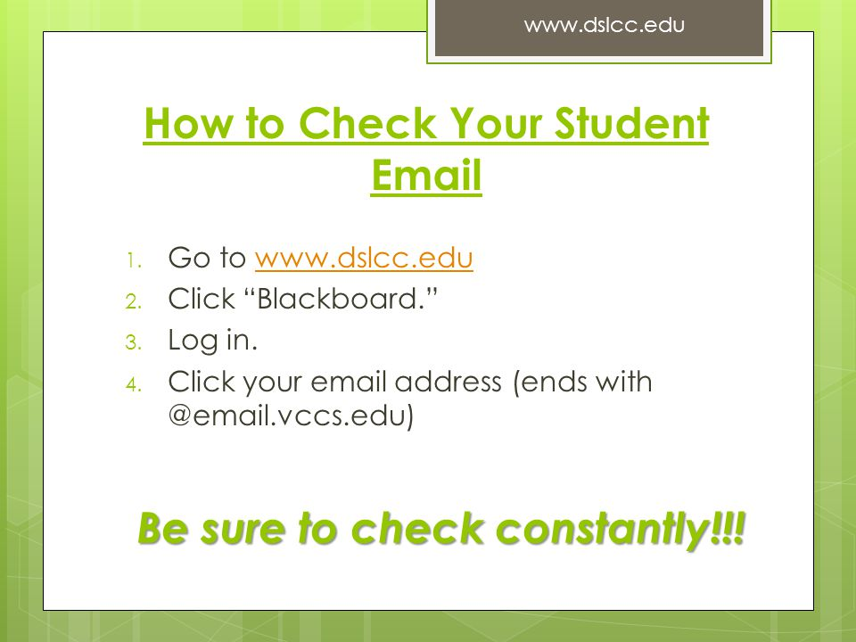 How to Check Your Student Email 1. Go to www.dslcc.eduwww.dslcc.edu 2.