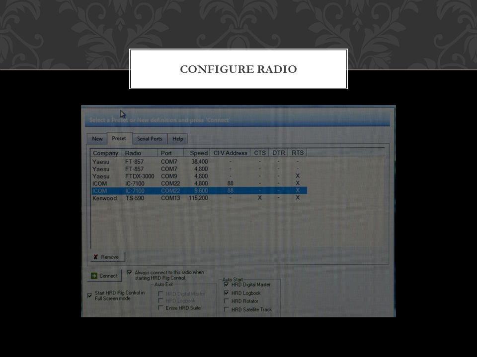 CONFIGURE RADIO