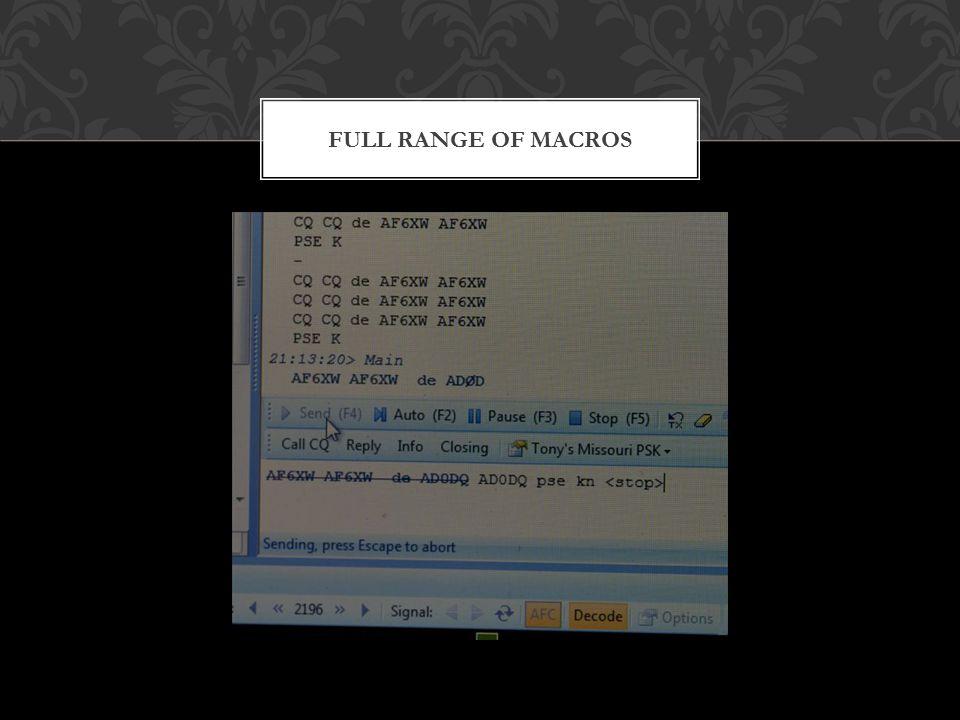 FULL RANGE OF MACROS