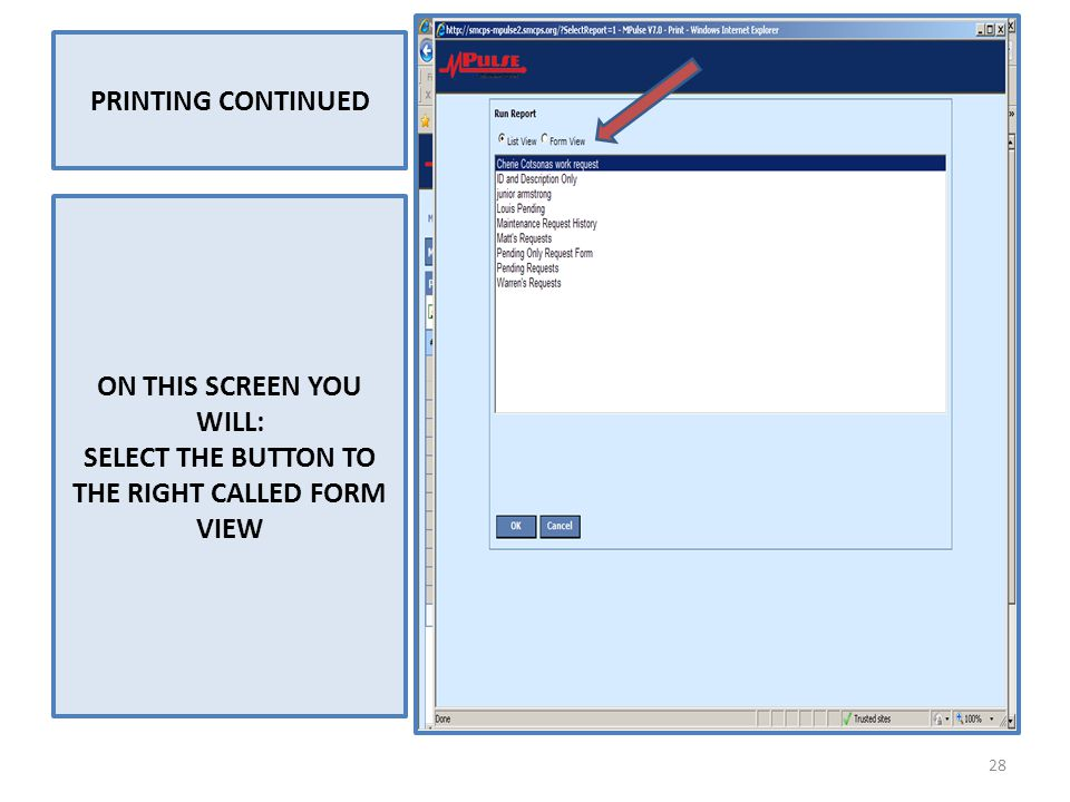 PRINTING CONTINUED ON THIS SCREEN YOU WILL: SELECT THE BUTTON TO THE RIGHT CALLED FORM VIEW 28