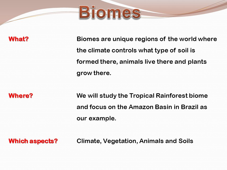 What? What?Biomes are unique regions of the world where the climate controls what type of soil is formed there, animals live there and plants grow the