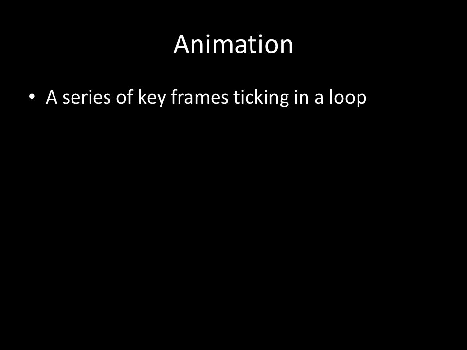 Animation A series of key frames ticking in a loop