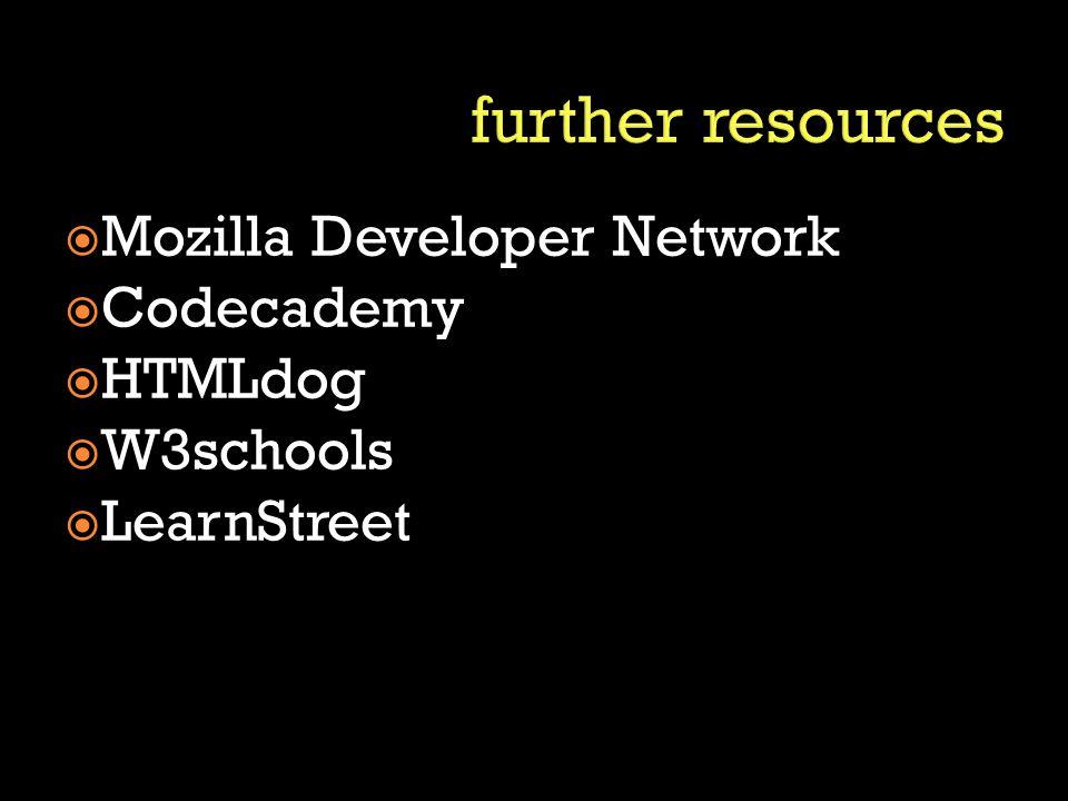 Mozilla Developer Network  Codecademy  HTMLdog  W3schools  LearnStreet