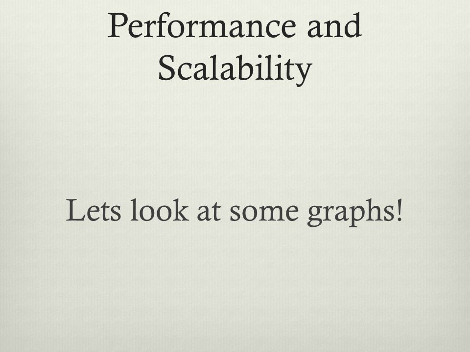 Performance and Scalability Lets look at some graphs!