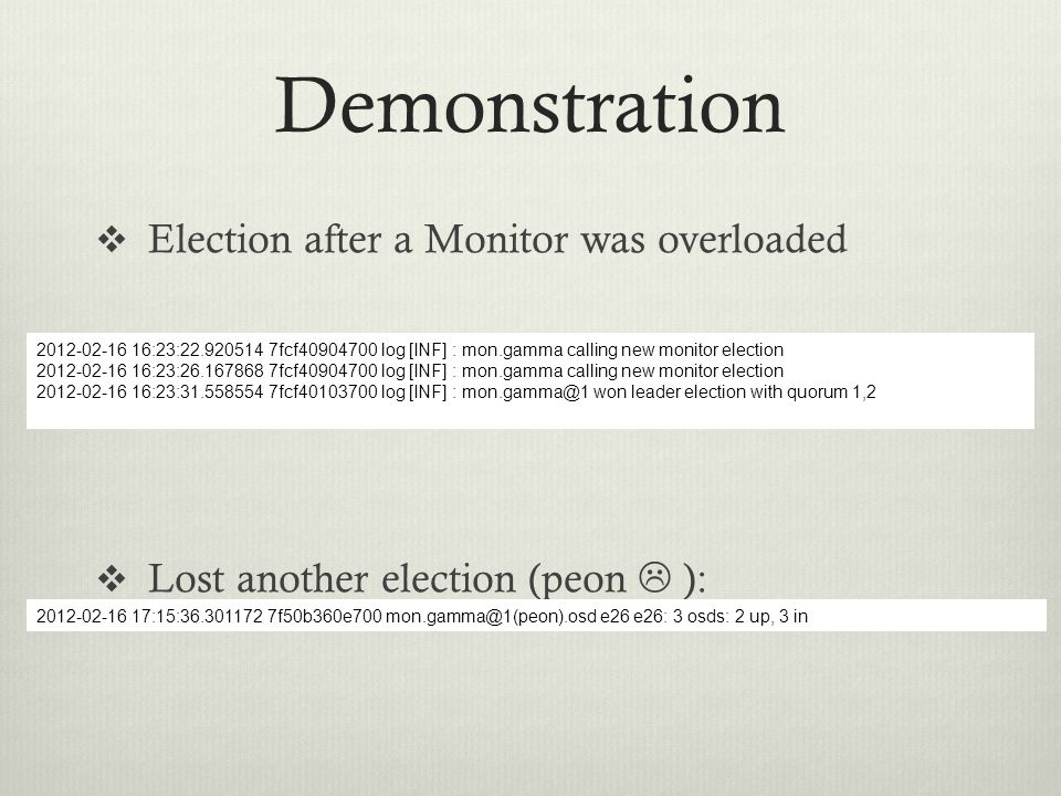 Demonstration  Election after a Monitor was overloaded  Lost another election (peon  ): 2012-02-16 16:23:22.920514 7fcf40904700 log [INF] : mon.gam