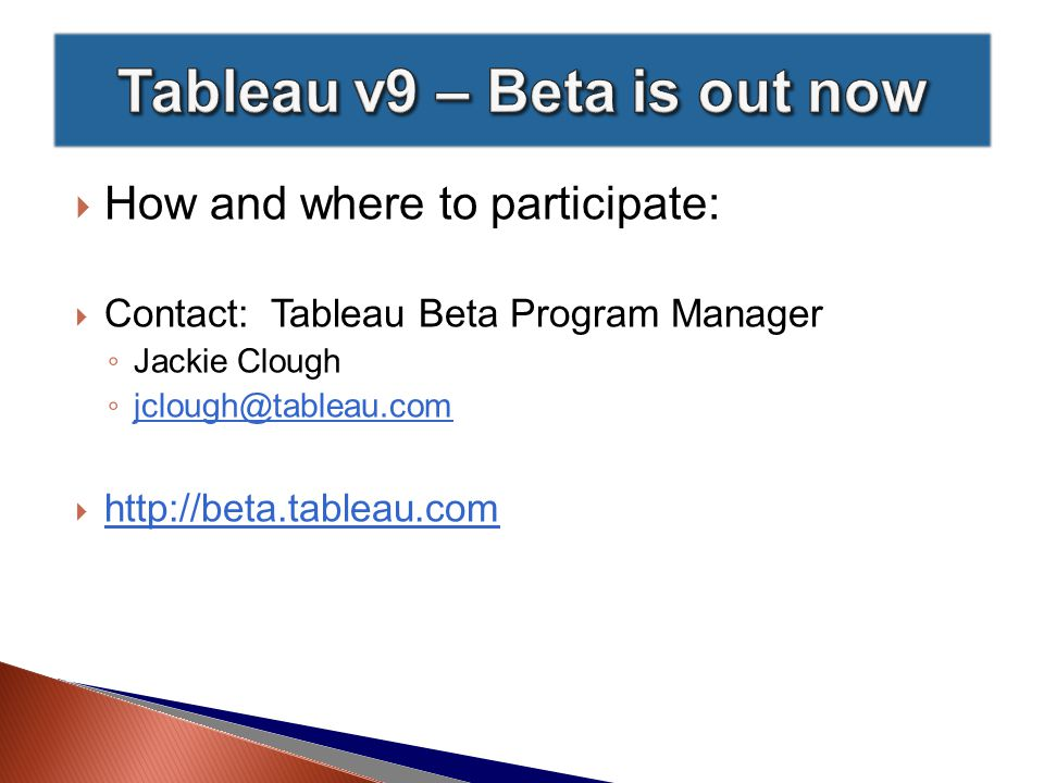  Tableau Elastic's Project Page:  http://www.tableau.com/be-elastic http://www.tableau.com/be-elastic  Gigaom's demo review:  https://gigaom.com/2014/09/09/with-project-elastic- tableau-is-taking-its-data-analysis-to-tablets/ https://gigaom.com/2014/09/09/with-project-elastic- tableau-is-taking-its-data-analysis-to-tablets/  Tableau VP Dave Story's video demo from the Tableau 2014 Customer Conference:  https://www.youtube.com/watch?v=3zJga9xumtc https://www.youtube.com/watch?v=3zJga9xumtc