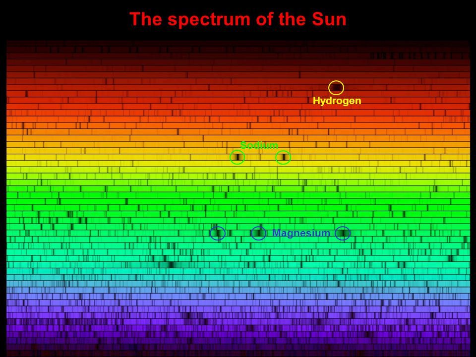 The spectrum of the Sun Hydrogen Sodium Magnesium