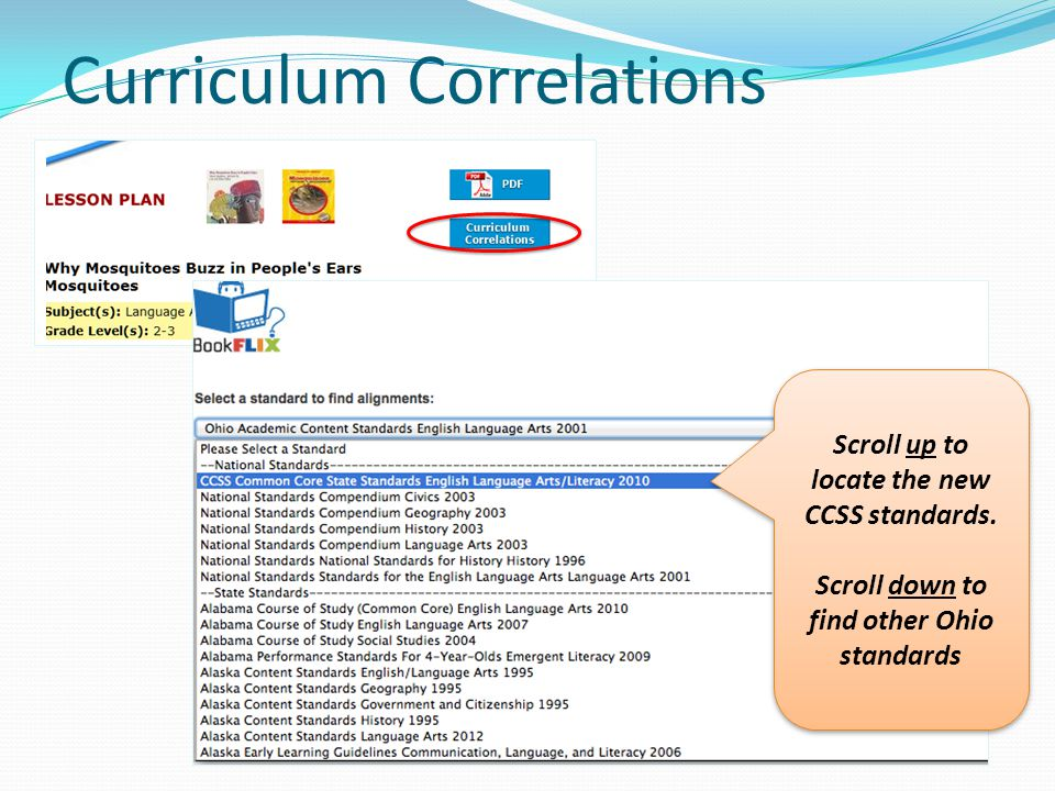 Curriculum Correlations Scroll up to locate the new CCSS standards.
