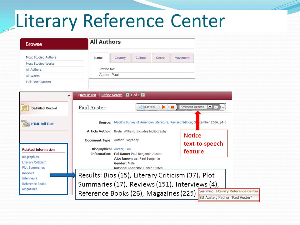 Literary Reference Center Results: Bios (15), Literary Criticism (37), Plot Summaries (17), Reviews (151), Interviews (4), Reference Books (26), Magazines (225) Notice text-to-speech feature