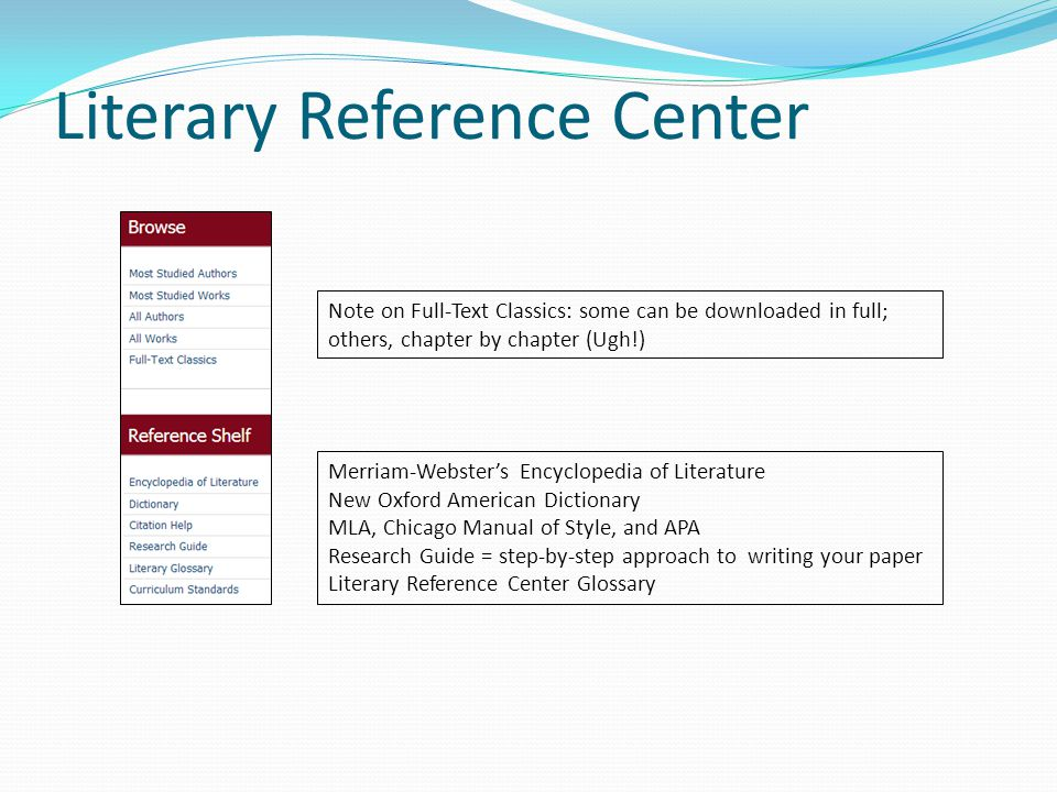 Literary Reference Center Merriam-Webster's Encyclopedia of Literature New Oxford American Dictionary MLA, Chicago Manual of Style, and APA Research Guide = step-by-step approach to writing your paper Literary Reference Center Glossary Note on Full-Text Classics: some can be downloaded in full; others, chapter by chapter (Ugh!)