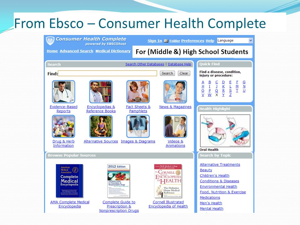 From Ebsco – Consumer Health Complete For (Middle &) High School Students