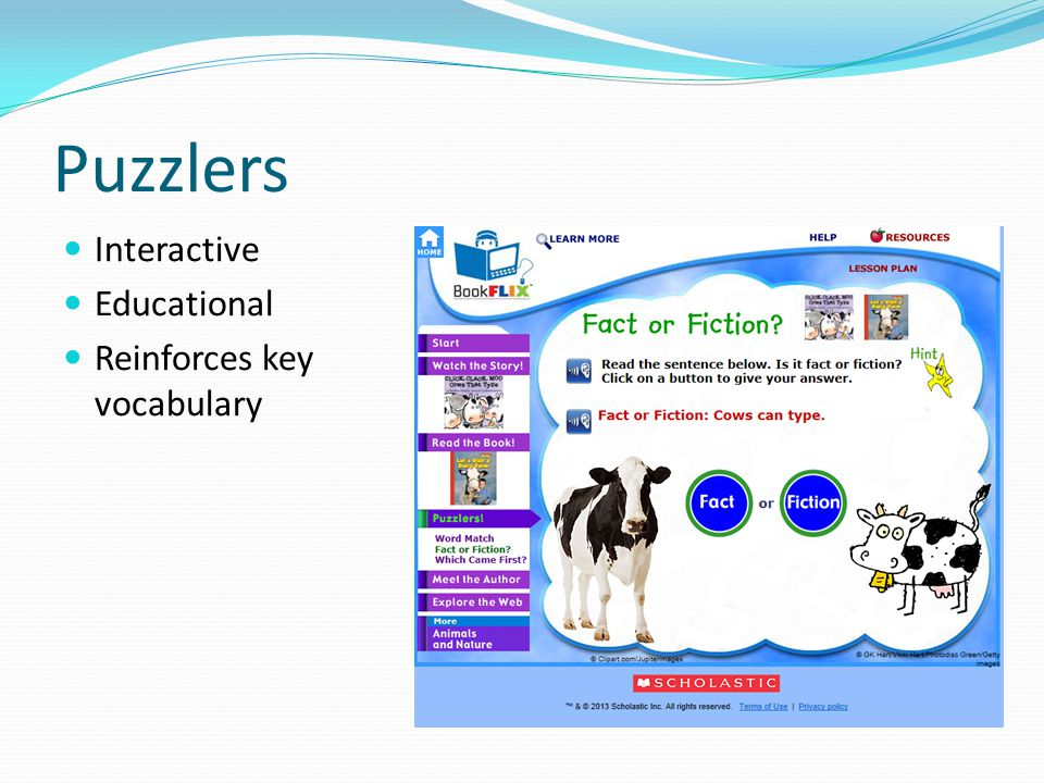 Puzzlers Interactive Educational Reinforces key vocabulary