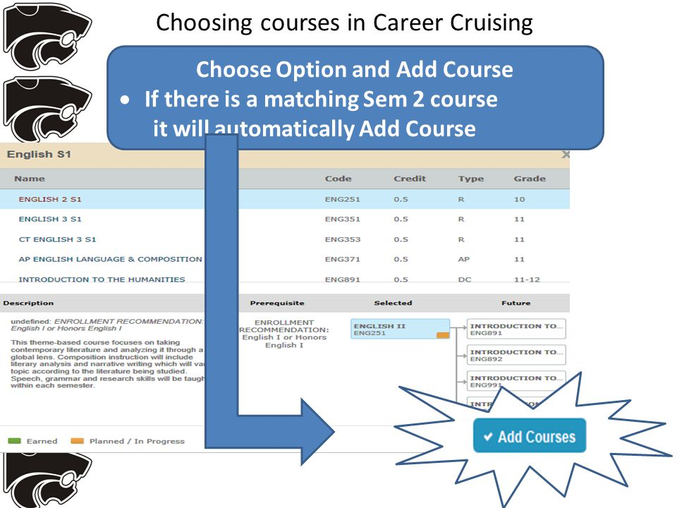 Choosing courses in Career Cruising Choose Option and Add Course  If there is a matching Sem 2 course it will automatically Add Course