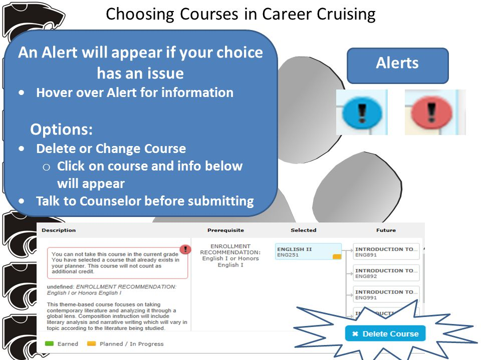 Choosing Courses in Career Cruising An Alert will appear if your choice has an issue  Hover over Alert for information Options:  Delete or Change Course o Click on course and info below will appear  Talk to Counselor before submitting Alerts