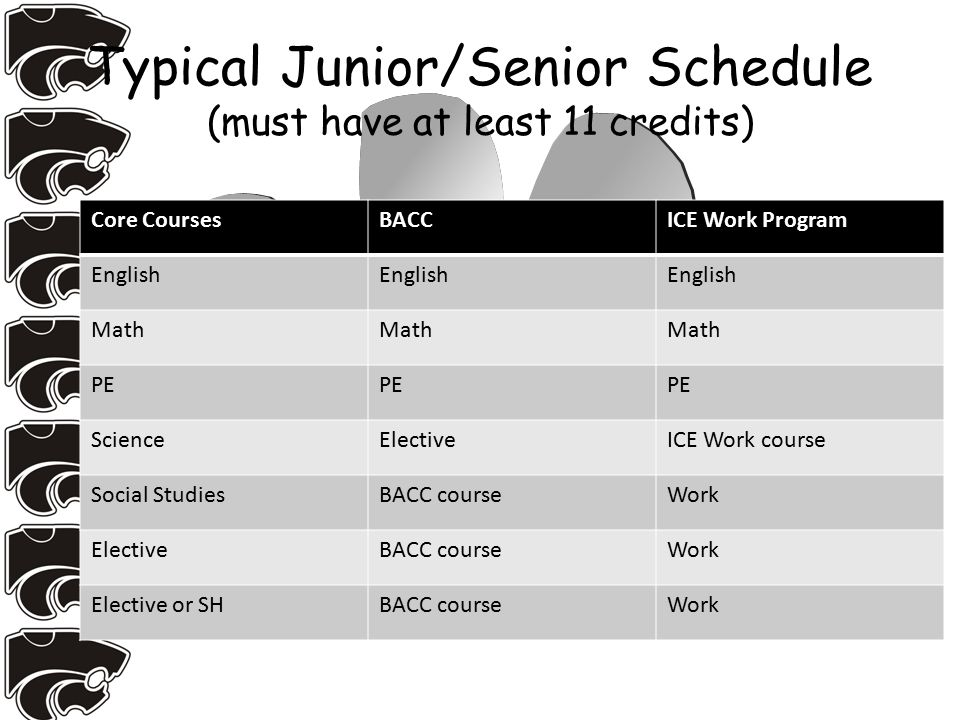 Typical Junior/Senior Schedule (must have at least 11 credits) Core CoursesBACCICE Work Program English Math PE ScienceElectiveICE Work course Social StudiesBACC courseWork ElectiveBACC courseWork Elective or SHBACC courseWork