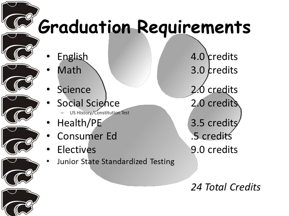 Graduation Requirements English4.0 credits Math3.0 credits Science 2.0 credits Social Science2.0 credits – US History/Constitution Test Health/PE3.5 credits Consumer Ed.5 credits Electives9.0 credits Junior State Standardized Testing 24 Total Credits