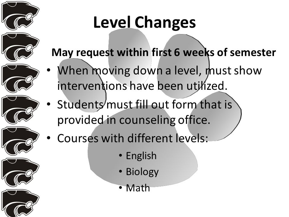 Level Changes May request within first 6 weeks of semester When moving down a level, must show interventions have been utilized. Students must fill ou