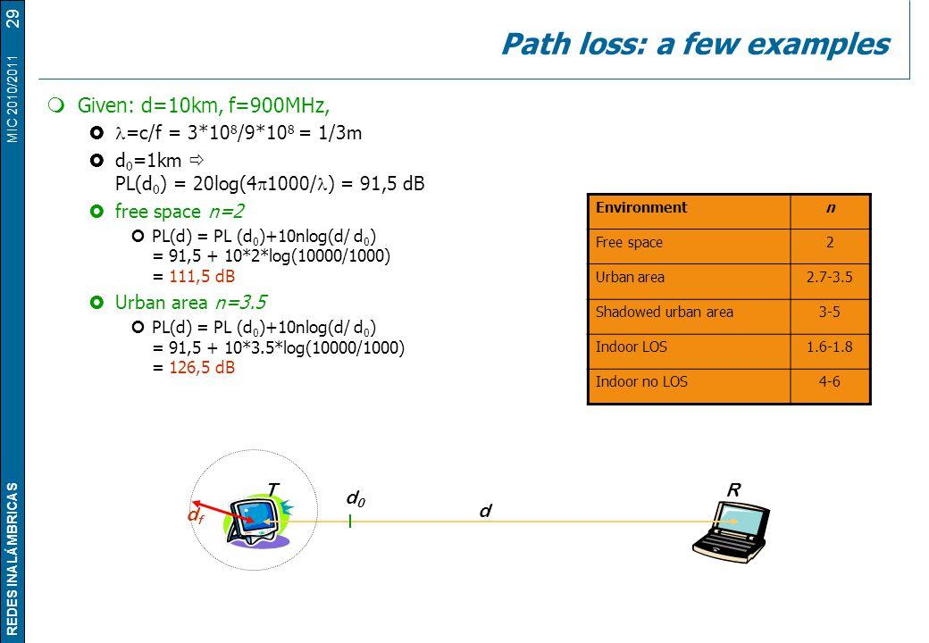 REDES INALÁMBRICAS MIC 2010/2011 Path loss: a few examples  Given: d=10km, f=900MHz,  =c/f = 3*10 8 /9*10 8 = 1/3m  d 0 =1km  PL(d 0 ) = 20log(4 