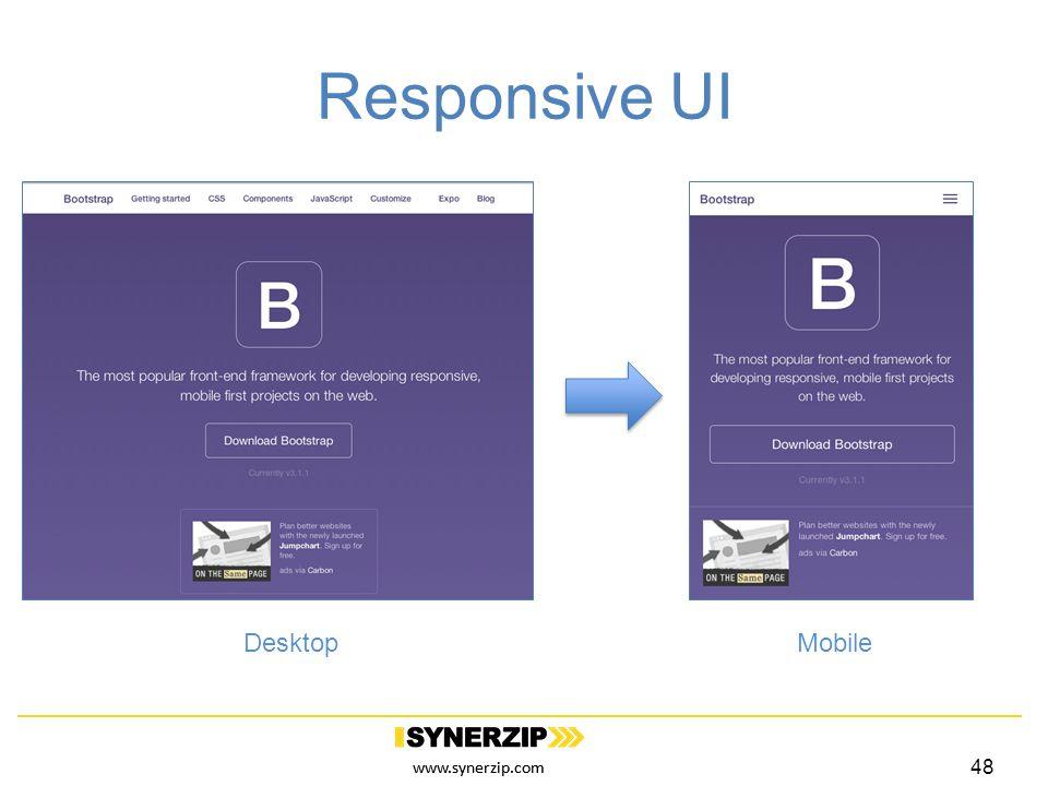 www.synerzip.com Responsive UI 48 DesktopMobile
