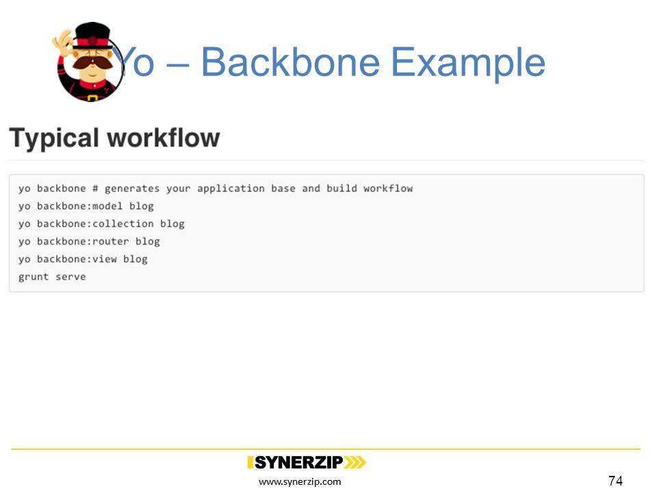 www.synerzip.com Yo – Backbone Example 74