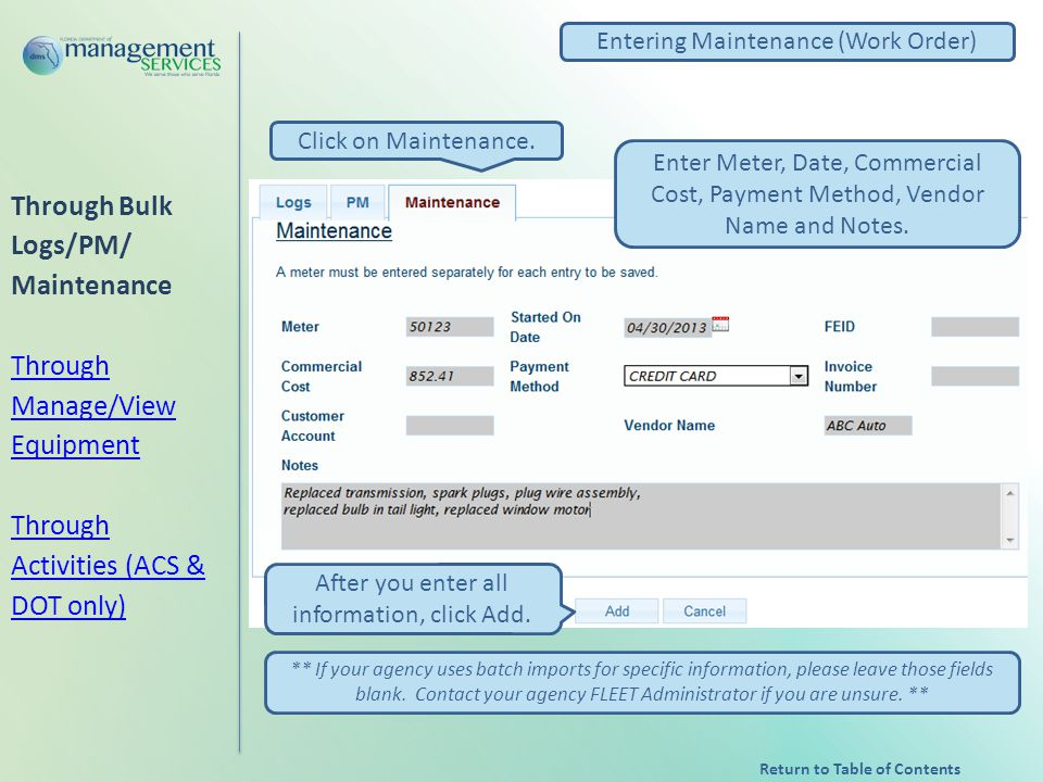 Entering Maintenance (Work Order) Click on Maintenance.