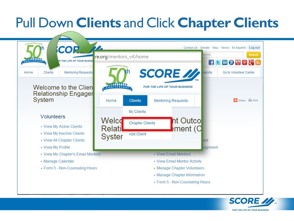 Pull Down Clients and Click Chapter Clients