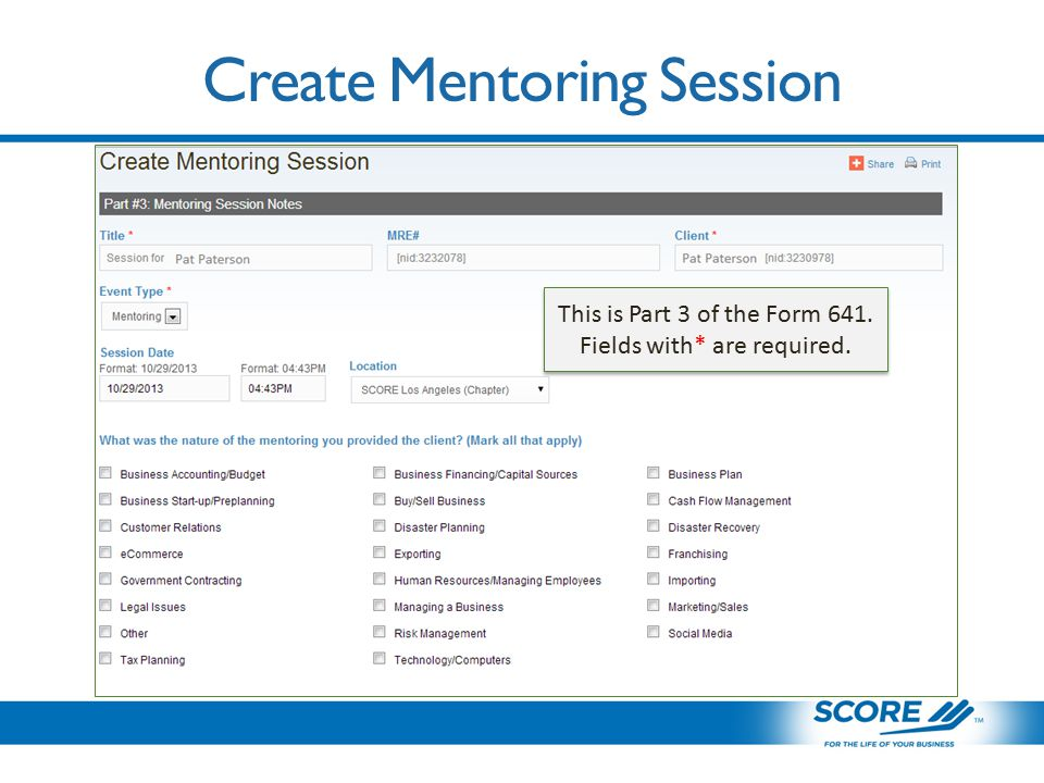 Create Mentoring Session This is Part 3 of the Form 641.