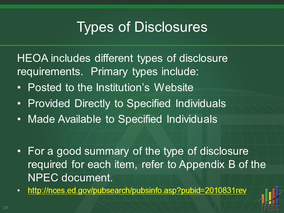 Types of Disclosures HEOA includes different types of disclosure requirements.