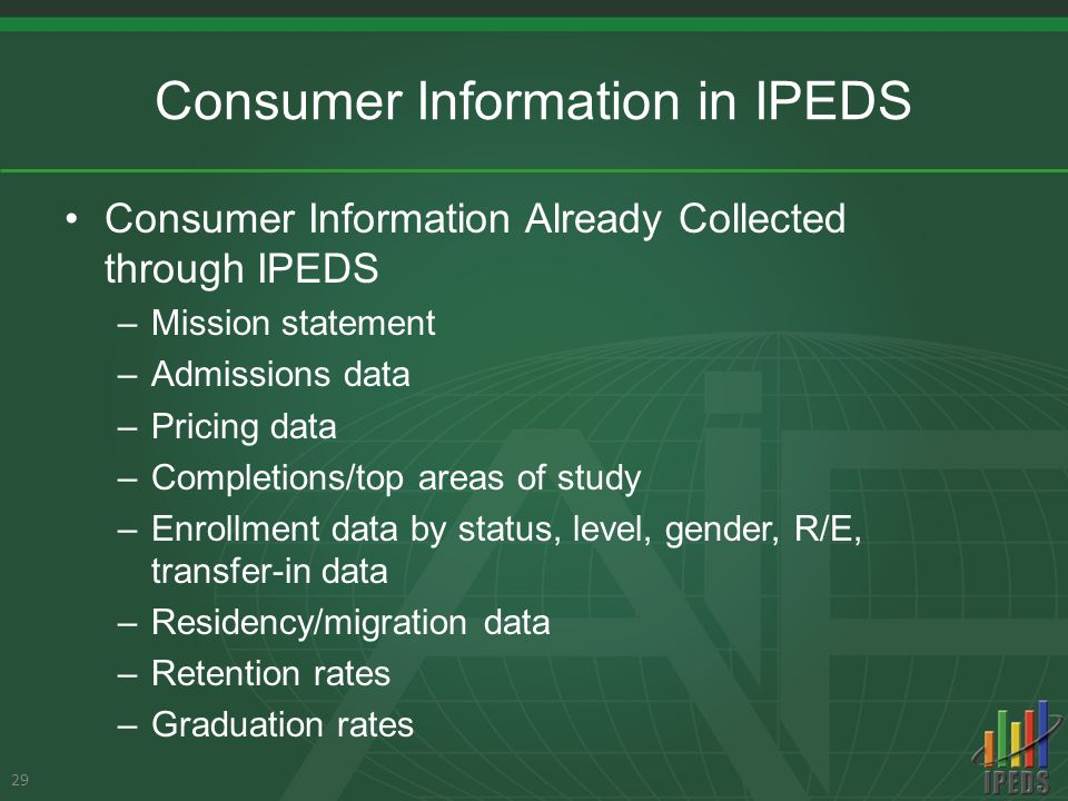 Consumer Information in IPEDS Consumer Information Already Collected through IPEDS –Mission statement –Admissions data –Pricing data –Completions/top areas of study –Enrollment data by status, level, gender, R/E, transfer-in data –Residency/migration data –Retention rates –Graduation rates 29