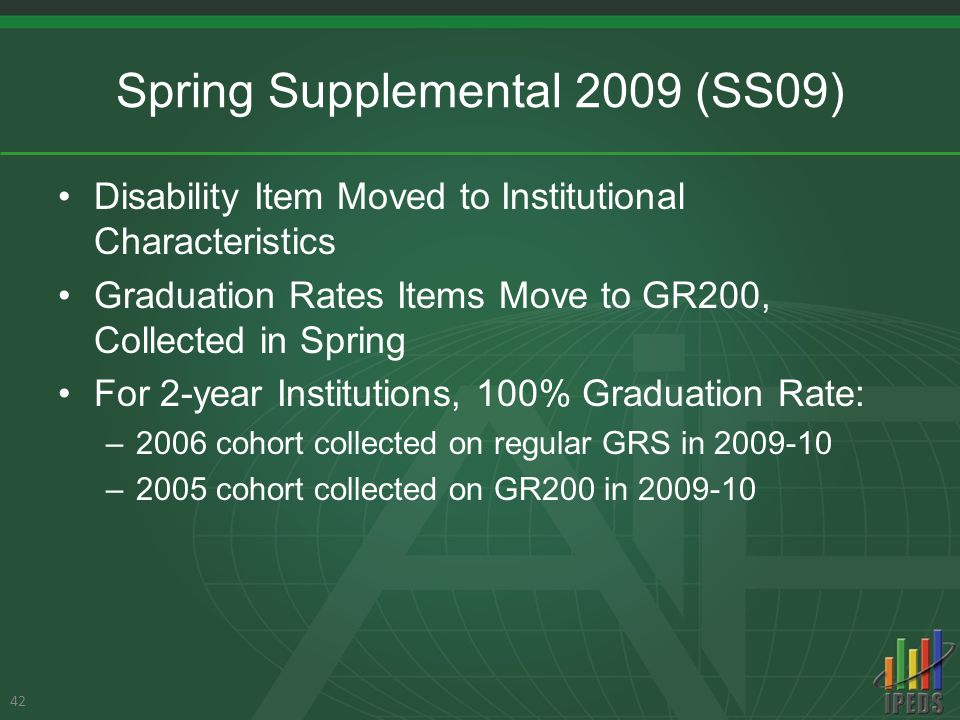 Spring Supplemental 2009 (SS09) Disability Item Moved to Institutional Characteristics Graduation Rates Items Move to GR200, Collected in Spring For 2-year Institutions, 100% Graduation Rate: –2006 cohort collected on regular GRS in 2009-10 –2005 cohort collected on GR200 in 2009-10 42