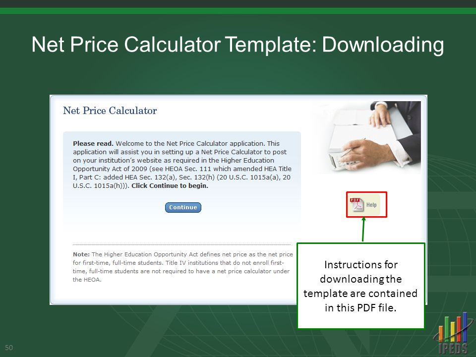 Net Price Calculator Template: Downloading 50 Instructions for downloading the template are contained in this PDF file.