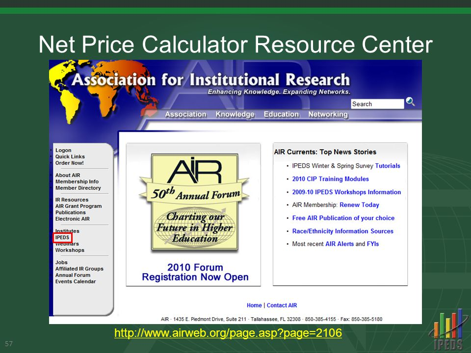 Net Price Calculator Resource Center 57 http://www.airweb.org/page.asp?page=2106