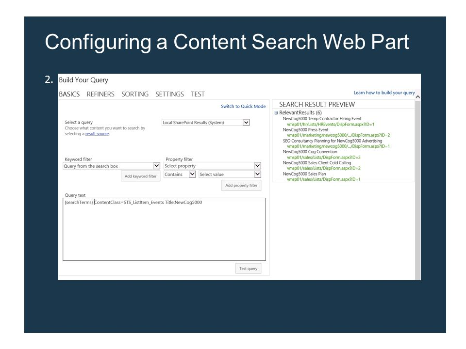 2. Configuring a Content Search Web Part