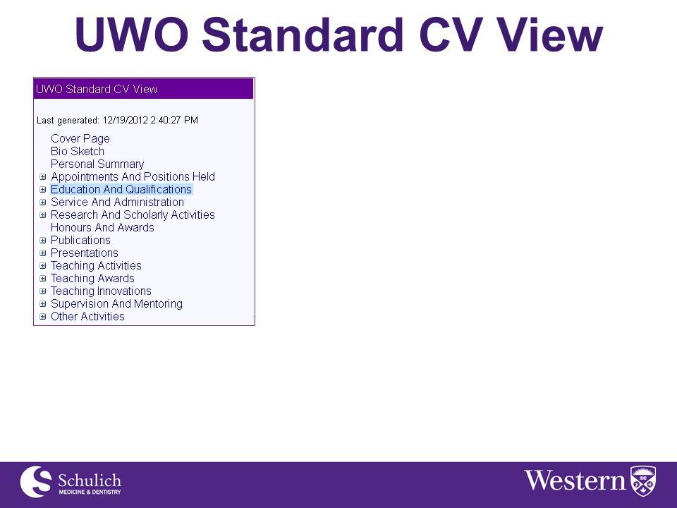 UWO Standard CV View