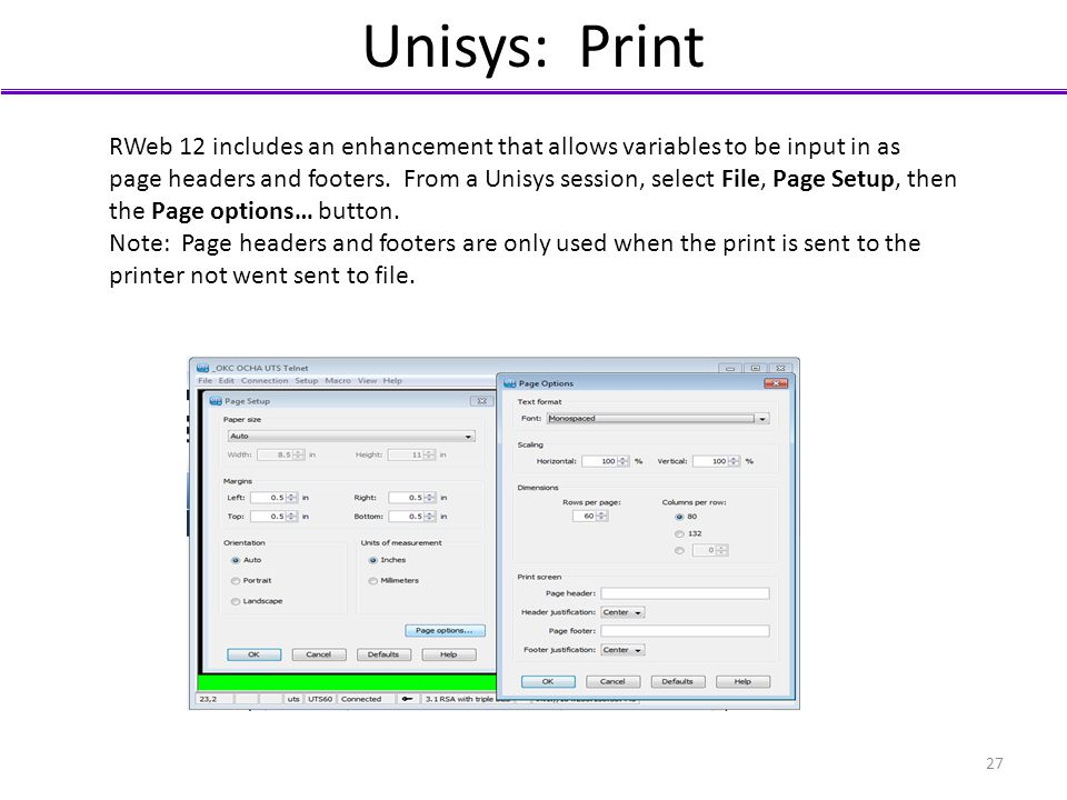 Unisys: Print RWeb 12 includes an enhancement that allows variables to be input in as page headers and footers. From a Unisys session, select File, Pa