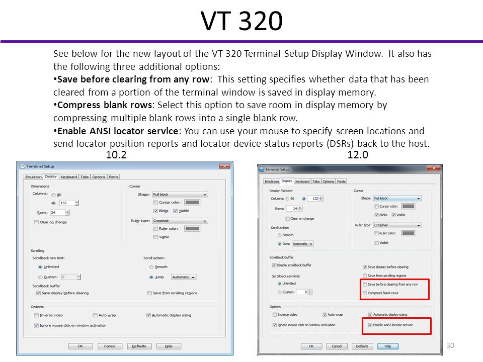 VT 320 See below for the new layout of the VT 320 Terminal Setup Display Window. It also has the following three additional options: Save before clear