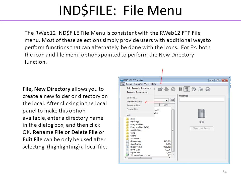 IND$FILE: File Menu The RWeb12 IND$FILE File Menu is consistent with the RWeb12 FTP File menu. Most of these selections simply provide users with addi